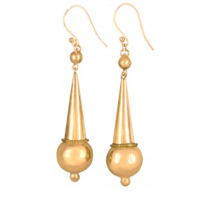 Yellow gold pendant earrings for women