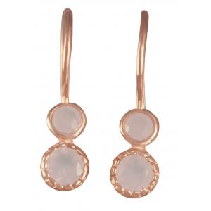 Boucles d'oreilles pour femmes quartz rose et or jaune