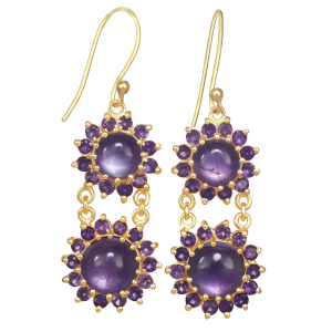 earrings for women amethyst and yellow gold