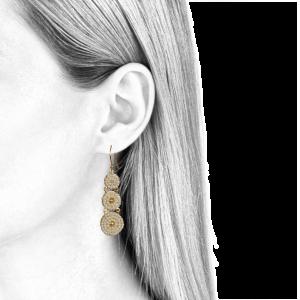 boucles d'oreilles pendantes pour femmes perles d'eau douce et or jaune