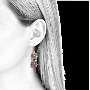 boucles d'oreilles pendantes pour femmes améthyste et or jaune